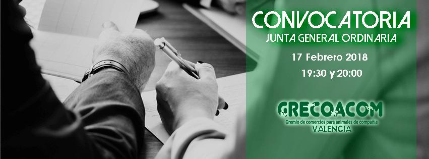 20180217 Convocatoria Junta General Ordinaria GRECOACOM Febrero 2018 Portada 851X315